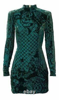 GorgeousBALMAIN X H&M Silk-blend Velvet Dress Blouse Top Size 12 Limited Green