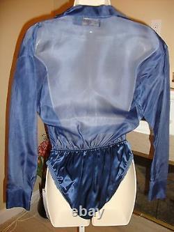 Gorgeous Nwt Blue Silk Donna Karan Body Suit Top