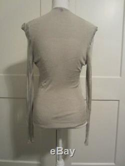 Grey Silk Gucci Tom Ford Era Size Medium Long Sleeve Ribbon Front Blouse Top