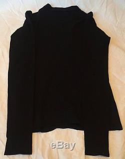 Gucci Black Wool Blend Sweater Long Sleeve Top Gunmetal Accents Authentic Size S