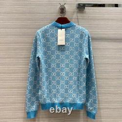 Gucci Sweater Gg Logo Cotton Jacquard Cardigan Blue Top Size L