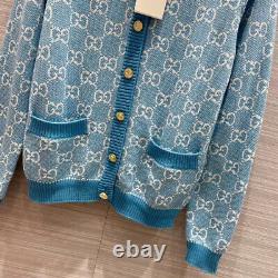Gucci Sweater Gg Logo Cotton Jacquard Cardigan Blue Top Size M