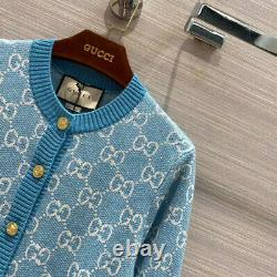 Gucci Sweater Gg Logo Cotton Jacquard Cardigan Blue Top Size S