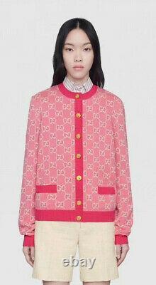 Gucci Sweater Gg Logo Cotton Jacquard Cardigan Pink Fuchsia Top Size L