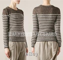 Gucci Sweater Striped Lurex Bronze White Angora Wool Silk Long Sleeve Top Small
