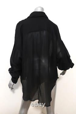 Gucci Tom Ford Lace-Up Blouse Black Size 38 Long Sleeve Shirt Top