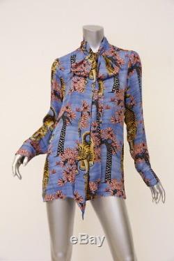 e0a158a52 Gucci Top Blouse Blue Bengal Tiger Print Silk Pussy Bow Sz 44 Long Sleeve  Shirt