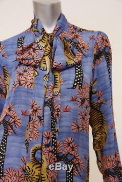 Gucci Top Blouse Blue Bengal Tiger Print Silk Pussy Bow Sz 44 Long Sleeve Shirt