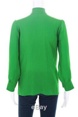 Gucci Womens Long Sleeve Pussy Bow Silk Georgette Blouse Top Green Size 38IT/S
