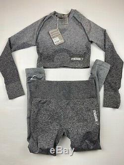 Gymshark Ombre Grey Set Rare Leggings Long Sleeve Top