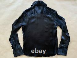 HELMUT LANG Vintage 90's Archive Italy Silk Blouse Top Shirt 42 Black Button