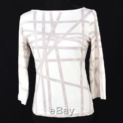 HERMES Bolduc Ribbon Round Neck Long Sleeve Tops Shirt White Rayon #LA A46691d