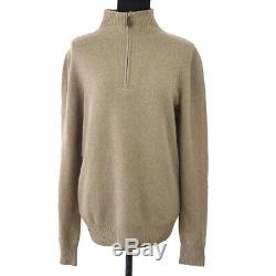 HERMES High Neck Long Sleeve Tops Knit Brown #XS Italy Authentic Y04321