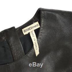 HERMES Logos Round Neck Zip Up Long Sleeve Tops Brown #34 Lamb Skin RK13589e