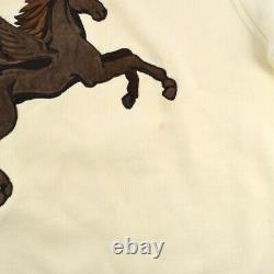 HERMES #M Horse Motif Round Neck Long Sleeve Tops Sweat Ivory 00668