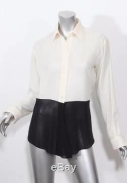 HERMES Womens Black+Ivory Long Sleeve Sheer Button Down Blouse Shirt Top 4 38