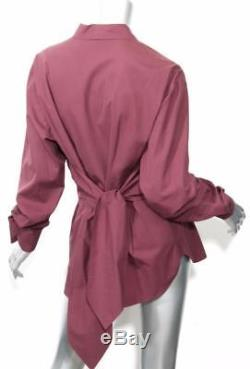 HERMES Womens Maroon Button Down Waist Wrap Long Sleeve Shirt Blouse Top 14-46