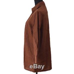 HERMES by MARGIELA Long Sleeve Tops Brown 100% Linen #M Y03718k