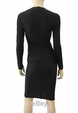 HERVE LEGER Long Sleeve Black Bandage Top and Skirt Set M
