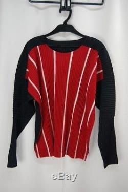 HOMME PLISSE ISSEY MIYAKE Red/Black Stripe Men's Long Sleeve Top size2 230 0613