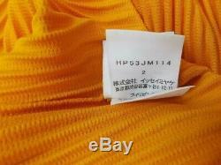 HOMME PLISSE issey miyake polo shirt top orange long sleeve size 2 MINT