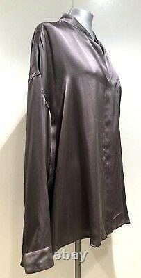 Haider Ackermann Gray Long Sleeve Silk Blouse Shirt, 40, $1495