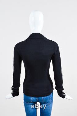 Haider Ackermann NWT $1285 Black White Wool Stitch Long Sleeve Sweater Top SZ M