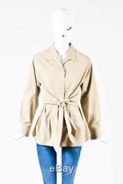 Hermes Khaki Cotton Belted Long Sleeve Button Up Top SZ 42