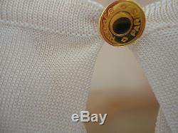 Hermes Violin Silk Top Long Sleeves Ivory/graphite France 38