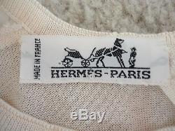 Hermes Violin Silk Top Long Sleeves Ivory/graphite France 38