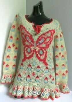 Hysteric Glamour Butterfly Crochet Open Knitted Long Sleeved Jumper Top S Small
