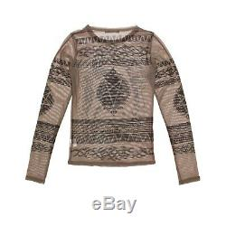 Hysteric Glamour Top Khaki Black Mesh Pin Up Print Long Sleeved Size S