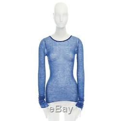 IKRAM 100% cashmere cobalf blue long sleeve ring detail stretch fit top M