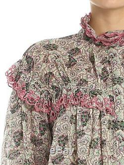 ISABEL MARANT Elmira Pink Green Cotton Ruffle Tier Long Sleeve Blouse Top 36/4
