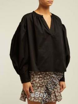 ISABEL MARANT Olto Black Cotton-Poplin V-Neck Crop Puff Long Sleeve Top 38/4
