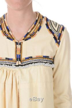 ISABEL MARANT Woman Beige Embroidered Long Sleeves Top Cotton Made in Italy