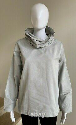 ISSEY MIYAKE Farfalle Cowl Neck Long Sleeve Top Blouse, Size 2/Small, Light Gray
