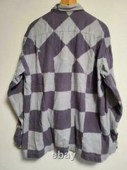 ISSEY MIYAKE MEN block check shirt long sleeve gray men's size 2 J1878
