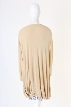 ISSEY MIYAKE PERMANENTE Vintage cream cropped front draped back long sleeve top