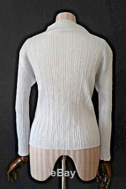 ISSEY MIYAKE PLEATS PLEASE Grey High Neck Long Sleeve Top JAP 3 / UK 12