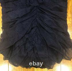 Iconic! Tom Ford Yves Saint Laurent Fall 02 Ruched Tulle Ruffle Blouse Top 36/2