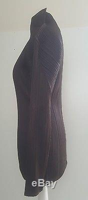 Immaculate! Issey Miyake Pleats Please chocolate brown. Sculpted long sleeved top