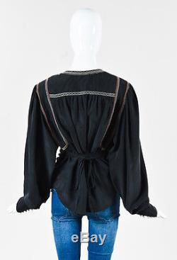 Isabel Marant Black Silk Embroidered Trim Tie Belted Wrap Long Sleeve Top SZ 44