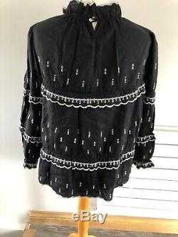 Isabel Marant Etoile Ladies Black & White Embroidery long sleeves Top Size 40
