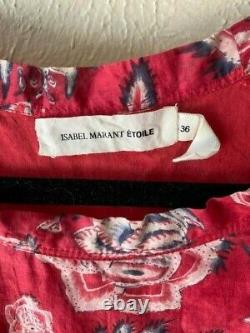 Isabel Marant Etoile SZ 36/4/M/L Red JONG Top Tunic Silk & Cotton Long Sleeve