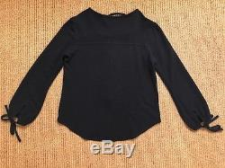 Isabel Marant Etoile Woody Black Jersey top 36 38 lace up tie blouse long sleeve