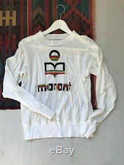 Isabel Marant Etoile white linen longsleeve logo top t-shirt size XS