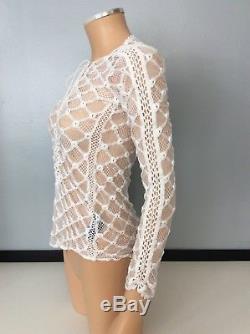 Isabel marant Cream Lace Top Long Sleeve Size 36 Uk 8 Run Way Mora