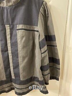 Isabel marant Etoile Grey Navy Blue Long Sleeve Blouse Top Sz 42
