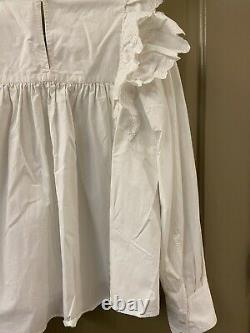 Isabel marant etoile cotton ruffle sleeve white blouse top sz 38 (item 5.7)